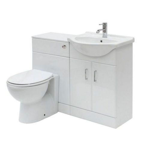 Floe 1050mm Cabinet Cloakroom Suite (Essentials BTW Pan)